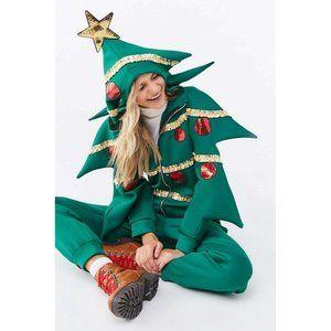 Forever 21 Green Christmas Tree Romper Jumpsuit S